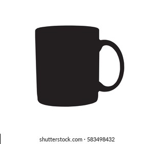 silhouette of mug, black color on vector