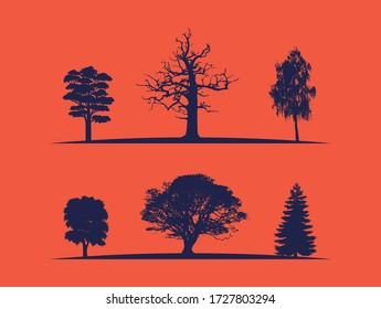 Silhouette multi pack featuring a variety of trees