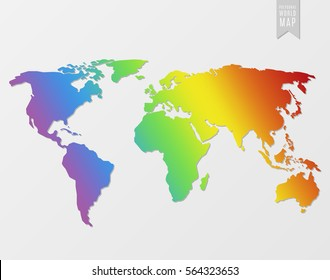 Silhouette multicolored world map isolated on a light background