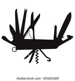 Silhouette of multifunctional pocket knife; Folding knife, multipurpose penknife isolated vector