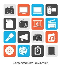 Silhouette Multimedia and technology Icons - vector icon set