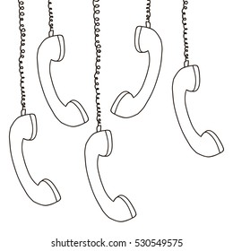 silhouette multiple handset hanging of the cord