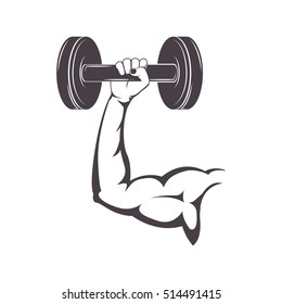 silhouette muscular arm holding a disc weights