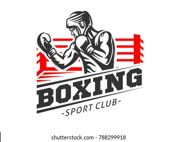Silhouette of a muscular boxer in a helmet against the backdrop of a boxing ring - boxing emblem, logo design, illustration on a white background