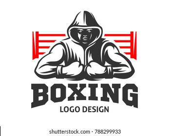Silhouette of a muscular boxer in a hoodie against the backdrop of a boxing ring - boxing emblem, logo design, illustration on a white background