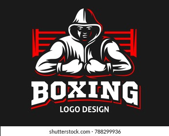 Silhouette of a muscular boxer in a hoodie against the backdrop of a boxing ring - boxing emblem, logo design, illustration on a black background