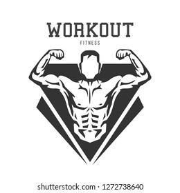 Silhouette of muscular man. Template for bodybuilding and sport fitness logo, label, emblem, badge or branding design in retro, vintage style. Vector illustration.