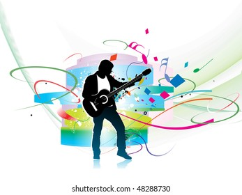 silhouette music men play a guitar with color wave line background, Vector Illustration, No mesh in this Vector