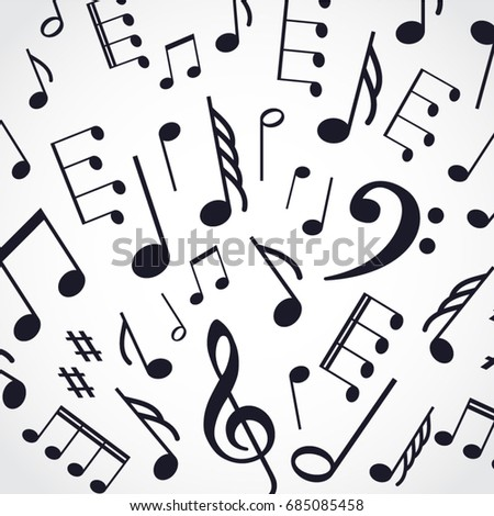 Silhouette Music Notes Background Stock Vector Royalty Free