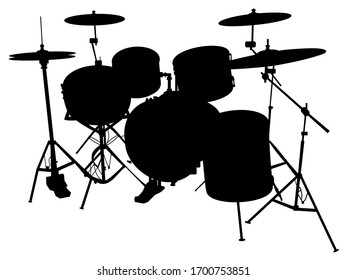 silhouette of a musical instrument drum kit vector illustration