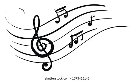 A silhouette of musical notes over white background typically represent modern musical notation vector color drawing or illustration