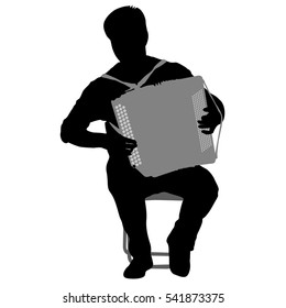 Silhouette musician, accordion player on white background, vector illustration.