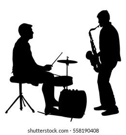 Silhouette musician drummer on white background, vector illustration