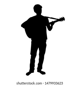 Silhouette of Musician Playing Acoustic Guitar
