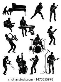 Silhouette of musicians in action: pianist, singer, guitarist, keybiardist,bassist, contrabassist