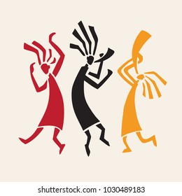 Silhouette of musicians and dancers. Dancing in traditional ethnic style. Vector Illustration