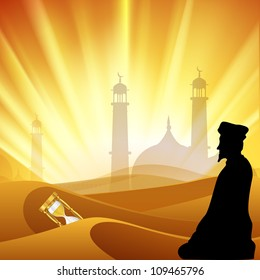 Silhouette of Muslim male reading Namaz on rays background with Mosque or Masjid and hour glass. EPS 10.