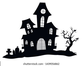 Silhouette of a mystical castle. Vector illustration of a haunted house for Halloween. Tattoo.