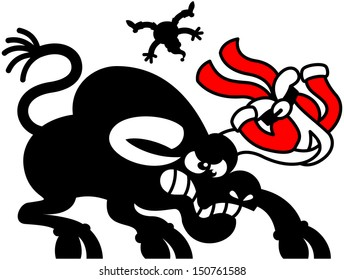Silhouette of a naked Santa Claus flying in the distance after being hit by a raging black bull which keeps his red Christmas suit hanging from one of its horns