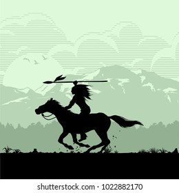 Silhouette of Native American Indian riding horseback with a spear, vector