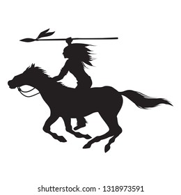 Silhouette of Native American Indian riding horseback with a spear banner, vector