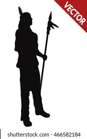 Silhouette of a native american indian with spear on white background, vector illustration