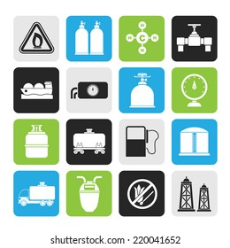 Silhouette Natural gas objects and icons - vector icon set