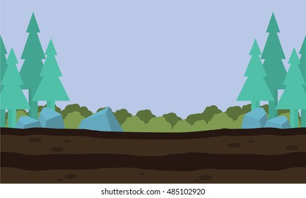 Silhouette of nature landscape game background