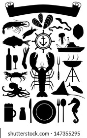 Silhouette of nautical icons and marine life