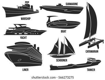 Silhouette of naval ships. Marine navy transportation military shipping boats, cargo, logistics, transportation vector illustration. Boat, warship, yacht, submarine, schooner, liner, tanker, catamaran