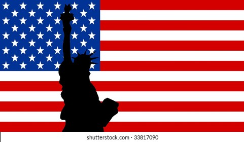 silhouette of New York on United States of America flag background