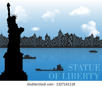 silhouette of New York, USA. Illustrator and vector.