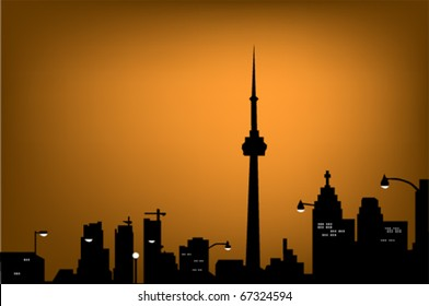 silhouette of night Toronto