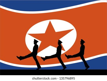 Silhouette of north korean soldiers marching with flag background, vector