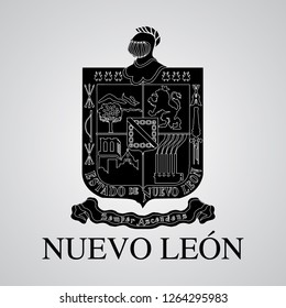 Silhouette of of Nuevo Leon Coat of Arms. Mexican State. Vector illustration