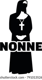 Silhouette of a nun with german job title and nuns habit