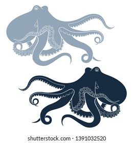 Silhouette of octopus isolated on white background.Vector template for logos, labels and emblems.