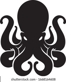 Silhouette of an octopus on light background