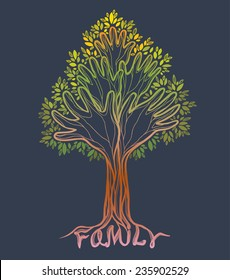 Silhouette off abstract green hand tree. Concept illustration- family tree on a gray background.