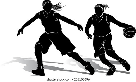 Silhouette of offensive and defensive girl basketball players.