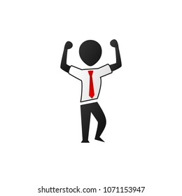 Silhouette office worker man show strong arms front double bicep pose illustration