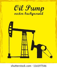 silhouette oil pump over yellow background. vector illustration