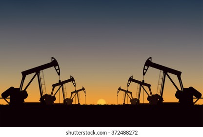 Silhouette Oil pumps at oil field with sunset sky background (vector)