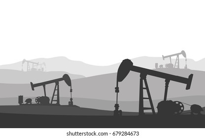 Silhouette of oil rig pump in petrochemical industrial over mountain range .Detailed vector illustration