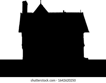 Silhouette of an old house with chimney. Vector illustration.