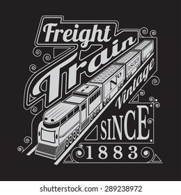 silhouette of old locomotive with wagons and lettering freight train