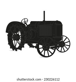 The silhouette of the old tractor in black and white vector