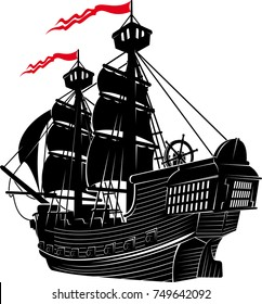 silhouette of the old two masted sailing ship sails away