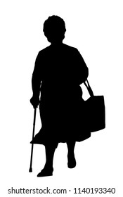 Silhouette of a old woman with cane on a white background, vector illustration