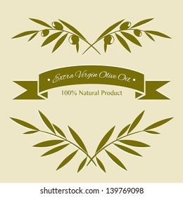 Silhouette olive branches and olive oil label